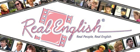 Real English ESL new logo with Real English written in middle and filmsrips with pictures from Real English videos in the filmstrips