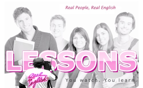 Real English ESL Lessons logo with Cameraman's back and t-shirt logo on the back of his t-shirt with the word 'Lessons' and 5 students in background.