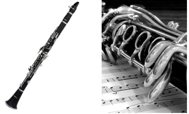 Both a full shot and close-up of a clarinet, a musical instrument in the woodwind family